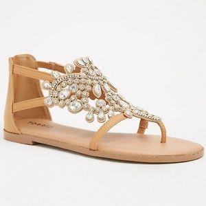 Torrid Wide Width Crystal Jewel TStrap Gem Sandals